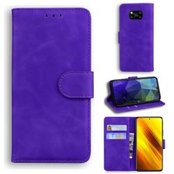 Retro Classic Skin Feel Leather Wallet Phone Case for Mi Xiaomi Poco X3 NFC - Purple