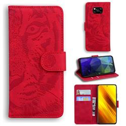 Intricate Embossing Tiger Face Leather Wallet Case for Mi Xiaomi Poco X3 NFC - Red