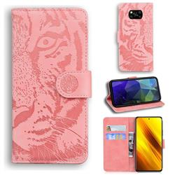 Intricate Embossing Tiger Face Leather Wallet Case for Mi Xiaomi Poco X3 NFC - Pink