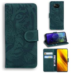 Intricate Embossing Tiger Face Leather Wallet Case for Mi Xiaomi Poco X3 NFC - Green