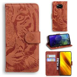 Intricate Embossing Tiger Face Leather Wallet Case for Mi Xiaomi Poco X3 NFC - Brown