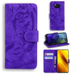 Intricate Embossing Tiger Face Leather Wallet Case for Mi Xiaomi Poco X3 NFC - Purple