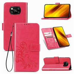 Embossing Imprint Four-Leaf Clover Leather Wallet Case for Mi Xiaomi Poco X3 NFC - Rose Red