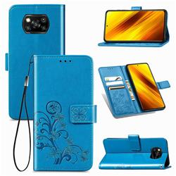 Embossing Imprint Four-Leaf Clover Leather Wallet Case for Mi Xiaomi Poco X3 NFC - Blue