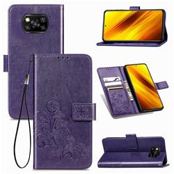 Embossing Imprint Four-Leaf Clover Leather Wallet Case for Mi Xiaomi Poco X3 NFC - Purple