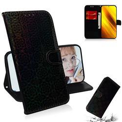 Laser Circle Shining Leather Wallet Phone Case for Mi Xiaomi Poco X3 NFC - Black
