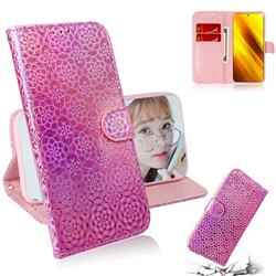Laser Circle Shining Leather Wallet Phone Case for Mi Xiaomi Poco X3 NFC - Pink