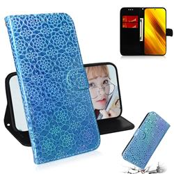 Laser Circle Shining Leather Wallet Phone Case for Mi Xiaomi Poco X3 NFC - Blue
