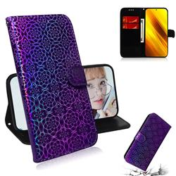 Laser Circle Shining Leather Wallet Phone Case for Mi Xiaomi Poco X3 NFC - Purple