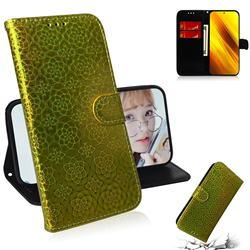 Laser Circle Shining Leather Wallet Phone Case for Mi Xiaomi Poco X3 NFC - Golden