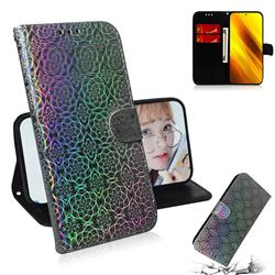 Laser Circle Shining Leather Wallet Phone Case for Mi Xiaomi Poco X3 NFC - Silver