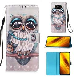 Sweet Gray Owl 3D Painted Leather Wallet Case for Mi Xiaomi Poco X3 NFC