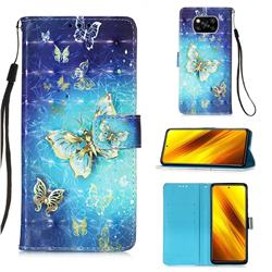 Gold Butterfly 3D Painted Leather Wallet Case for Mi Xiaomi Poco X3 NFC