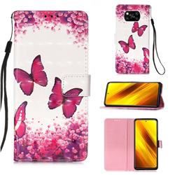 Rose Butterfly 3D Painted Leather Wallet Case for Mi Xiaomi Poco X3 NFC