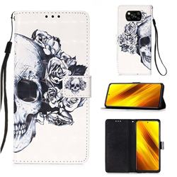 Skull Flower 3D Painted Leather Wallet Case for Mi Xiaomi Poco X3 NFC