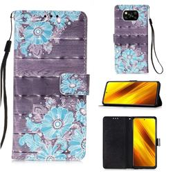 Blue Flower 3D Painted Leather Wallet Case for Mi Xiaomi Poco X3 NFC