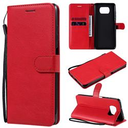 Retro Greek Classic Smooth PU Leather Wallet Phone Case for Mi Xiaomi Poco X3 NFC - Red