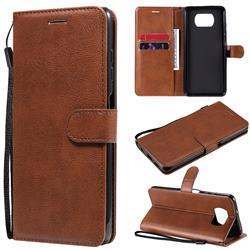 Retro Greek Classic Smooth PU Leather Wallet Phone Case for Mi Xiaomi Poco X3 NFC - Brown