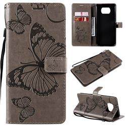 Embossing 3D Butterfly Leather Wallet Case for Mi Xiaomi Poco X3 NFC - Gray