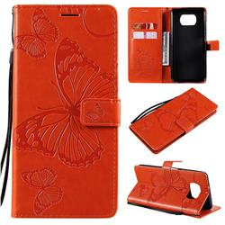 Embossing 3D Butterfly Leather Wallet Case for Mi Xiaomi Poco X3 NFC - Orange