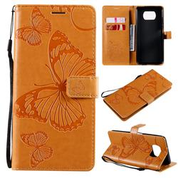 Embossing 3D Butterfly Leather Wallet Case for Mi Xiaomi Poco X3 NFC - Yellow