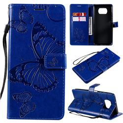 Embossing 3D Butterfly Leather Wallet Case for Mi Xiaomi Poco X3 NFC - Blue