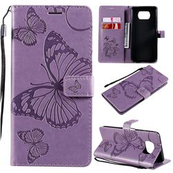 Embossing 3D Butterfly Leather Wallet Case for Mi Xiaomi Poco X3 NFC - Purple