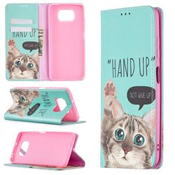 Hand Up Cat Slim Magnetic Attraction Wallet Flip Cover for Mi Xiaomi Poco X3 NFC