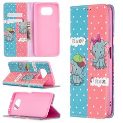 Elephant Boy and Girl Slim Magnetic Attraction Wallet Flip Cover for Mi Xiaomi Poco X3 NFC