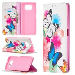 Flying Butterflies Slim Magnetic Attraction Wallet Flip Cover for Mi Xiaomi Poco X3 NFC