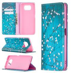Plum Blossom Slim Magnetic Attraction Wallet Flip Cover for Mi Xiaomi Poco X3 NFC