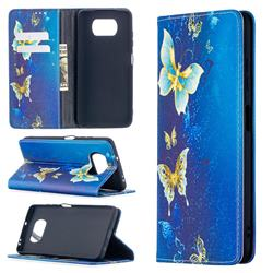 Gold Butterfly Slim Magnetic Attraction Wallet Flip Cover for Mi Xiaomi Poco X3 NFC