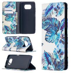 Blue Leaf Slim Magnetic Attraction Wallet Flip Cover for Mi Xiaomi Poco X3 NFC