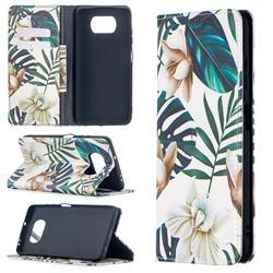 Flower Leaf Slim Magnetic Attraction Wallet Flip Cover for Mi Xiaomi Poco X3 NFC