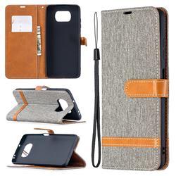 Jeans Cowboy Denim Leather Wallet Case for Mi Xiaomi Poco X3 NFC - Gray
