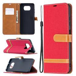 Jeans Cowboy Denim Leather Wallet Case for Mi Xiaomi Poco X3 NFC - Red