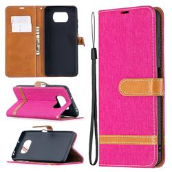 Jeans Cowboy Denim Leather Wallet Case for Mi Xiaomi Poco X3 NFC - Rose
