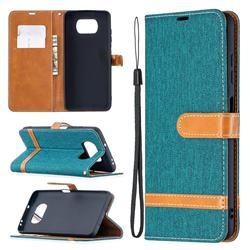 Jeans Cowboy Denim Leather Wallet Case for Mi Xiaomi Poco X3 NFC - Green