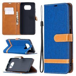 Jeans Cowboy Denim Leather Wallet Case for Mi Xiaomi Poco X3 NFC - Sapphire