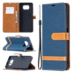 Jeans Cowboy Denim Leather Wallet Case for Mi Xiaomi Poco X3 NFC - Dark Blue