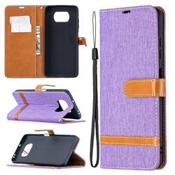 Jeans Cowboy Denim Leather Wallet Case for Mi Xiaomi Poco X3 NFC - Purple