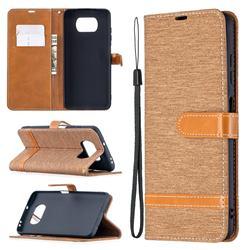 Jeans Cowboy Denim Leather Wallet Case for Mi Xiaomi Poco X3 NFC - Brown
