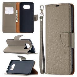 Classic Luxury Litchi Leather Phone Wallet Case for Mi Xiaomi Poco X3 NFC - Gray