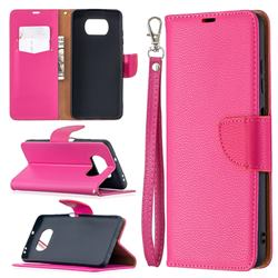 Classic Luxury Litchi Leather Phone Wallet Case for Mi Xiaomi Poco X3 NFC - Rose