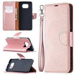 Classic Luxury Litchi Leather Phone Wallet Case for Mi Xiaomi Poco X3 NFC - Golden