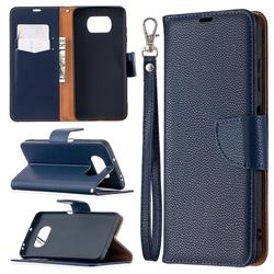 Classic Luxury Litchi Leather Phone Wallet Case for Mi Xiaomi Poco X3 NFC - Blue