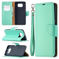 Classic Luxury Litchi Leather Phone Wallet Case for Mi Xiaomi Poco X3 NFC - Green