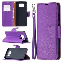 Classic Luxury Litchi Leather Phone Wallet Case for Mi Xiaomi Poco X3 NFC - Purple
