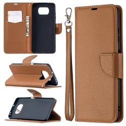 Classic Luxury Litchi Leather Phone Wallet Case for Mi Xiaomi Poco X3 NFC - Brown
