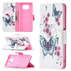 Peach Butterflies Leather Wallet Case for Mi Xiaomi Poco X3 NFC